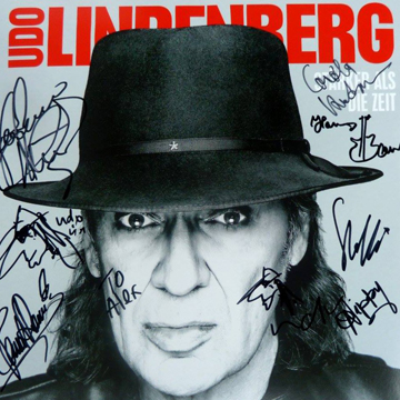 myRockworld memorabilia: Udo Lindenberg - Album Stärker Als Die Zeit, 2016, personally signed by Udo Lindenberg ( twice and with 2 personal Udo pics too), Jean-Jaques Kravetz, Pascal Kravetz, Steffi Stephan, Hannes Bauer, Carola Kretschmer and Nippy Noya