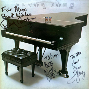 myRockworld memorabilia: Elton John - Album Here and there, 1976, Ultra rare - signed by Ray Cooper, Nigel Olsson and Elton John