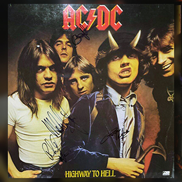 myRockworld memorabilia: AC/DC - Album Highway to Hell - 1979, signed by Malcom Young, Angus Young, Phil Rudd and Cliff Williams