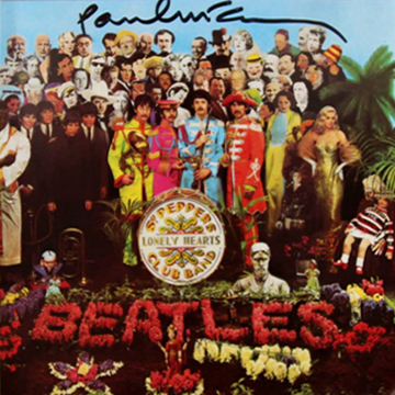 myRockworld memorabilia: the Beatles - Album - Sgt. Pepper's Lonely Hearts Club Band, 1967, 1987 CD Inlay signed by Paul McCartney