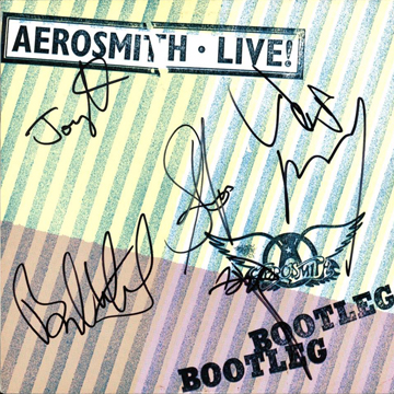 myRockworld memorabilia: Aerosmith - Album Live!Bootleg, 1978, signed by Steven Tyler, Joe Perry, Brad Whitford, Tom Hamilton and Joey Kramer