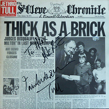 myRockworld memorabilia: Jethro Tull - Album Thick As A Brick, 1972, Vinyl, rare first pressing, personally signed by Ian Anderson and Martin Barre