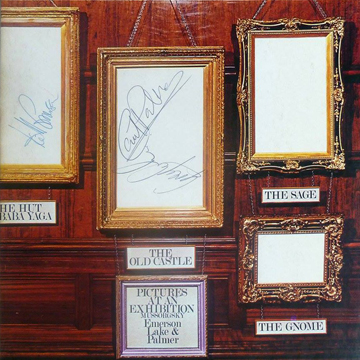 myRockworld memorabilia: Emerson, Lake and Palmer - Album Pictures at an Exhibition, 1971 - nice, vintage signed with a blackpen by Keith Emerson ( R.I.P.), Greg Lake and Carl Palmer